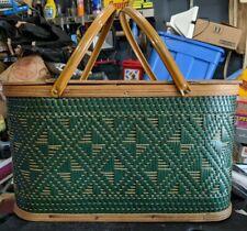 Vintage Green Weave Burlington Hawkeye Picnic Basket