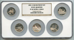 2001-S United States Silver Quarter Proof Set NGC PF 69 ULTRA CAMEO