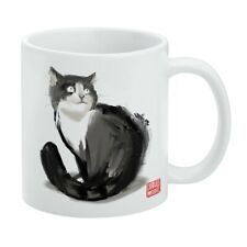 Cat Traditional Chinese Ink Painting White Mug