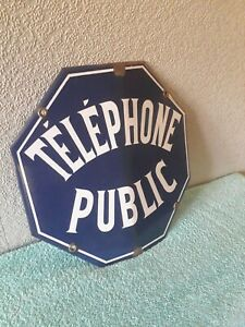Antique blue French enamel steel sign plaque plate notice public telephone
