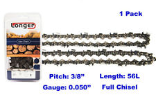 """16 Inch 3/8"""" Pitch 0.050'' Gauge Full Chisel Chainsaw Chain 56 Links"""
