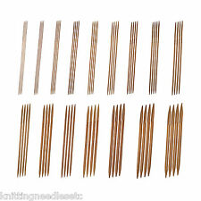 """Double Point Knitting Needles Bamboo 6"""" (~15 cm) Carbonized-Complete Set -Knitzy"""