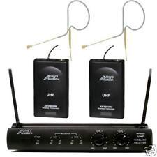 Audio 2000's 6032U630 UHF Dual Channel Beige Mini Headset Wireless Microphone
