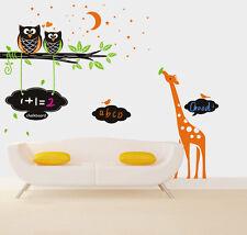 Giraffe Tree Owl Chalkboard Nursery Wall Art Sticker Decal Monkey Kid Blackboard