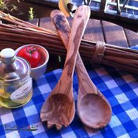 Salatbesteck aus Olivenholz Gabel Löffel zweiteilig handgemacht salad server 30c
