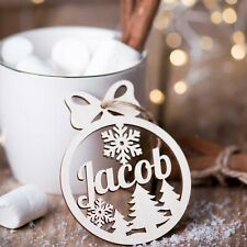 Wooden Christmas ornament, Personalized name snowflake,Holiday gift