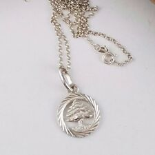 """Vintage Sterling Silver Christmas Tree Pendant Necklace 20"""" chain 2754"""