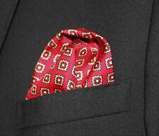 100% SILK Pocket Square Handkerchief  - UK Made - Red Lt Gold DBH-06