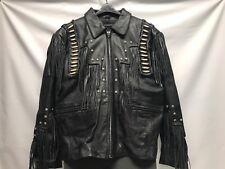 Leather Gallery Western Fringe Beaded Women's Motorcycle Biker Jacket Size XL
