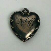 Vintage 1940s Sterling Silver Puffy Heart Bracelet Charm Swirls Engraved 'N C'
