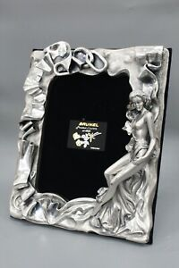 Brunel Preziosi D'Autore Weighted Silver Nude Woman Figurine Ribbon Frames