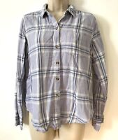 Abercrombie & Fitch Women's Check Long Sleeve Shirt/Top Size S - Pale Blue