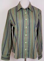 Van Heusen Blouse Size L Womens Button Shirt Long Sleeve Stripes Flip Cuff