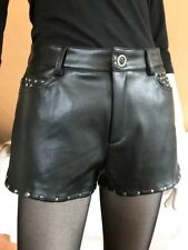 Lederimitat Hotpants mit Nieten Mango Größe 36 schwarz black faux leather short