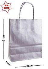 10x PLATA Papel Bolsas de Regalo Fiesta ~ Tienda Boutique SORPRESA - Tamaño A4