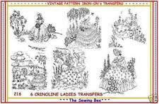 216 - 6  Crinoline Lady - Ladies Embroidery  IRON-ON Transfers Patterns