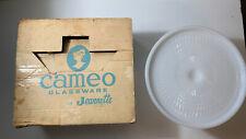 VINTAGE JEANNETTE SHELL PINK MILK GLASS PEDESTAL CAKE STAND BEADED EDGE W/ Box