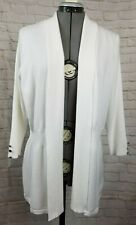 89th Madison Duster Cardigan-Med-Ivory-Open-3/4 Sleeve-Soft-Long-Sweater-Knit