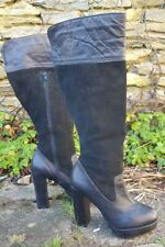 Topshop black knee high leather and suede platform boots  UK 5