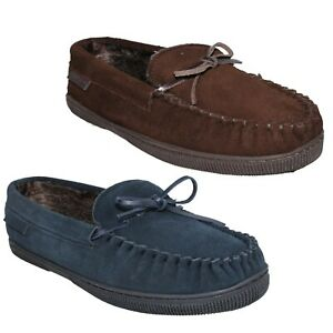 MENS HUSH PUPPIES COSY FUR LINED SUEDE COMFORT MOCCASIN SLIP ON ACE SLIPPER SIZE