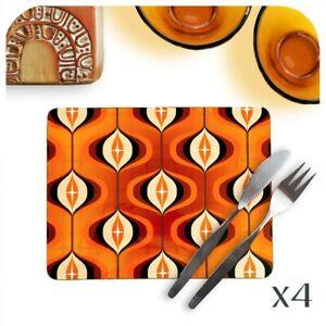 Mid Century Op Art Placemats 4, Orange Place mats,1970s style, Retro Table mats