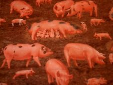 """1 Yard Cotton Fabric """"Pigs in Mud"""" by Timeless Treasures NEW"""