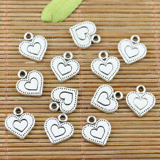 24pcs tibetan silver color 2sided love heart charms EF2368