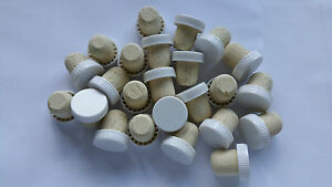 Plastic Wine Bottle Corks / Stoppers  - White - Pack Of 24 (Flanged)
