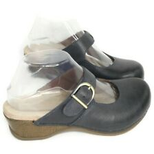 Dansko WOMEN'S Blue Leather Martina Backless Comfort Clogs Size 37 EUR