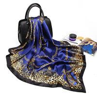 "Women's Blue Leopard Square Scarf Silk-Satin Office Fashion Big Shawl 35""*35"""