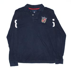 TOMMY HILFIGER Blue Regular Long Sleeve Polo Shirt Womens XL