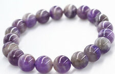 """New 8mm Brazil Natural amethyst Round Stretchy Bracelet 7.5 """"Aaa"""