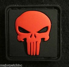 3D RUBBER PVC PUNISHER SKULL US ARMY BLACK OPS RED VELCRO® BRAND FASTENER PATCH