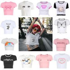 Kawaii Sexy Short Top Short Sleeve Crop Top Casual Cute Women T shirt Tee Shirt