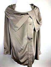 Soft Surrounding Blouse Womens Medium Taupe Cowl Neck 100% Silk Top Asymmetric