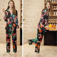 Women's Winter Floral Pajamas Robe Sleepwear Set Long Sleeve Nightgown Sleepwear