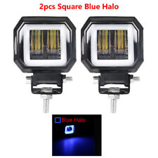3 Inch 7D Lens Motorcycle Square LED Blue Angel Eyes Work Fog Light Bar SUV ATV
