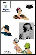 Designer JOHN FREDERICS VOGUE #9601 Millinery Cap Hats Fabric Sewing Pattern 23""