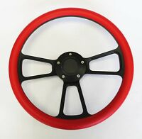 "1964 1965 Chevelle El Camino Red on Black Spokes Steering Wheel 14"""
