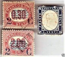 LOT 3 ITALIAN  ITALY STAMP: 2 1878 2ct RED overprint & 1855 SARDINA INDIGO 20ct