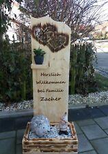 Holz Deko Schild ( Herzlich Willkommen  ) und  geflammten Blumenkasten