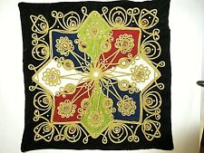 Home Decor Fabric Cushion Pillow Cover ~Black Velvet, Pearls & Mirrors~ NEW