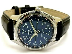 genuine hmt pilot men's hand winding blue dial steel 17 jewels watch run order
