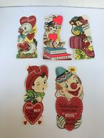 Vintage 1950's Valentine Cards set of 5 blank old fashion cards cute designs