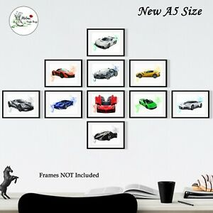 Set of 10 A5 Super Sports Cars Prints car Photo Poster Picture Print Wall art