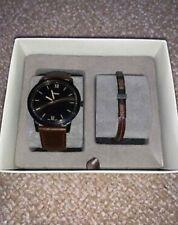 Fossil FS5251SET Men's leather Watch and Bracelet Set - Brown