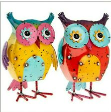 Perching Forest Owl Statue Realistic Outdoor Bird Artificial Resin Yellow