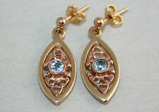 Fine Welsh Clogau 9ct Yellow & Rose Gold Queen Eleanor Celtic Topaz Earrings