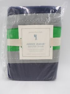 Pottery Barn Kids Justice League Quilted Sham Super Hero Navy Green Std #9978