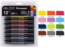 Old Letraset NUOVO Winsor Newton Promarker Set 1 - 12 colori e libera FRULLATORE -